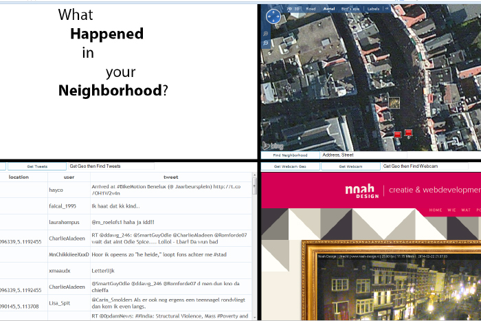 A tool that combines several online services resulting in a digital neighbourhood watch (works best in FireFox) - <a href='http://www.samuelzwaan.nl/images/portfolio/project1app/index.php' target='_blank'>Try It</a>